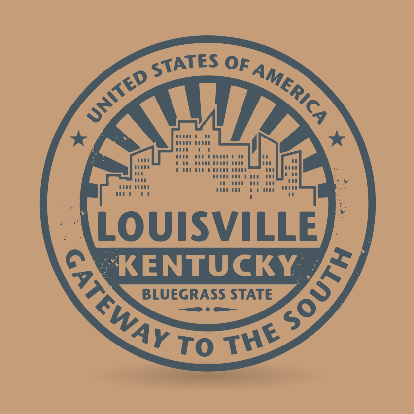 Grunge rubber stamp with name of Louisville, Kentucky